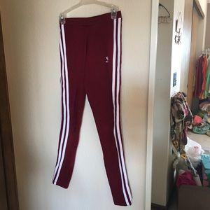 Maroon and white adidas leggings